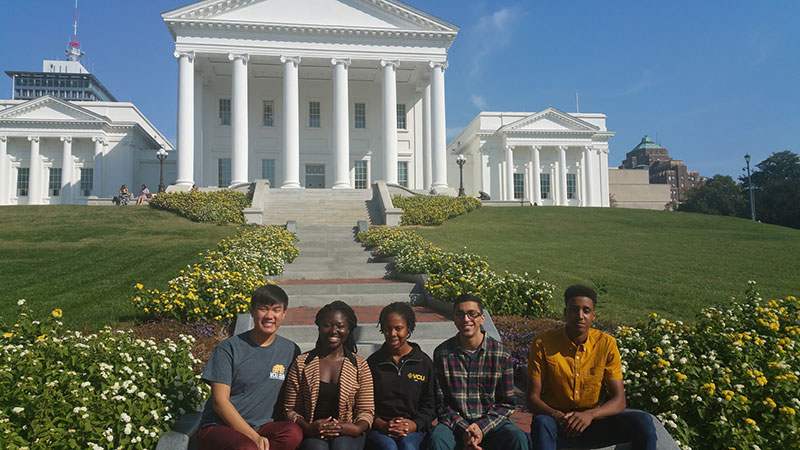 Students at the VA state capitol
